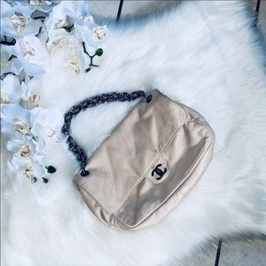 😍 CHANEL beige singla flap chunky chain purse